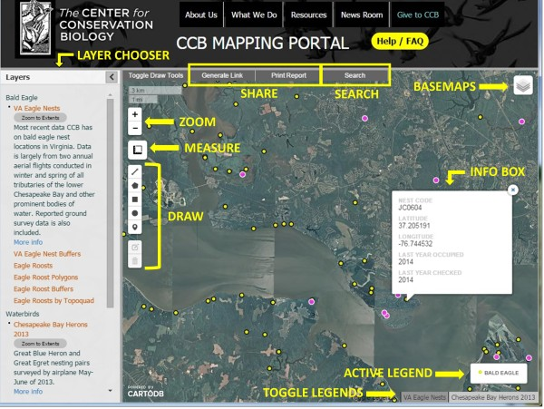 These are the main parts to the CCB Mapping Portal.