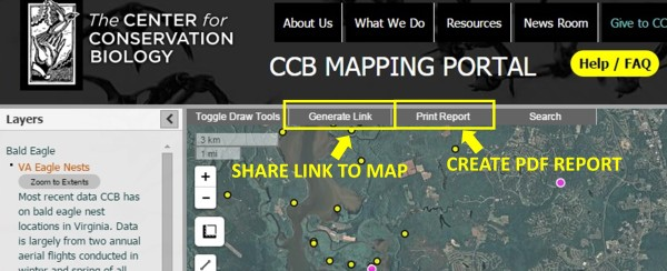 "Use the ""Generate Link"" button to create a shareable link to the current map in the URL bar. Use the ""Print Report""button to create a PDF report of the current map."
