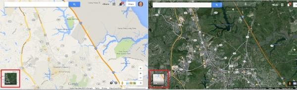 Google Maps map earth view comparison